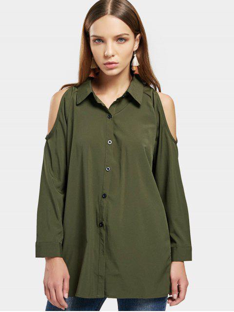 Chemise à capuchon boutonnée boutonnée à froid - Vert Armée XL Mobile