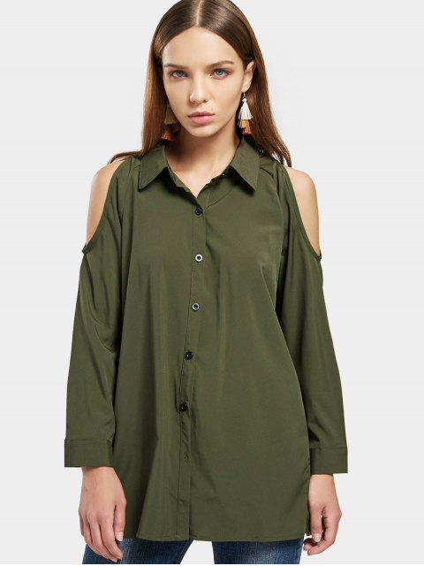 shops Cold Shoulder Button Up Longline Shirt - ARMY GREEN M Mobile
