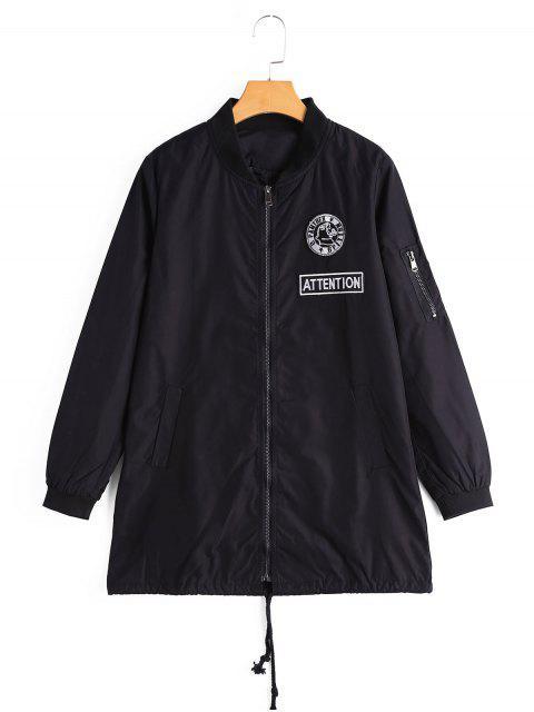 Manteau à Badge Patché Zippé avec Poches - Noir S Mobile