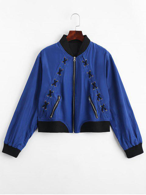 Zip Up Criss Cross Bomber Jacke - Blau M Mobile