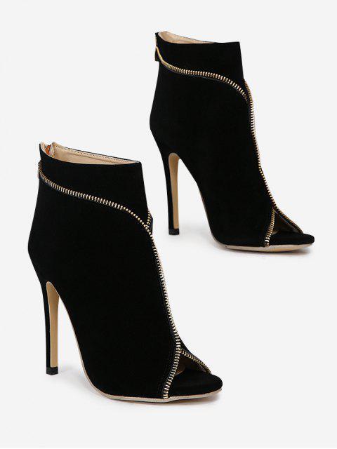 Reißverschluss verschönert Stiletto Ferse Stiefel mit öffnen Zehe - Schwarz 37 Mobile