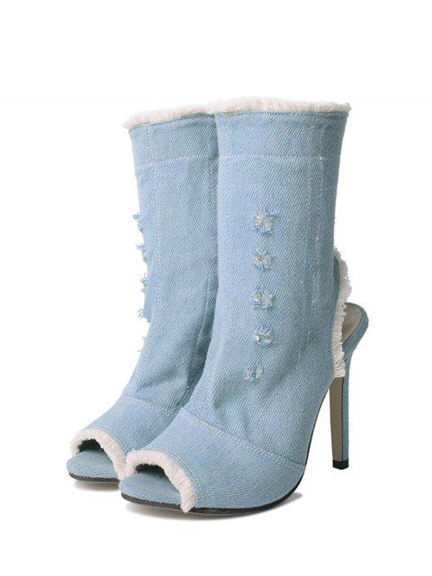 shops Peep Toe Denim Stiletto Heel Boots - BLUE 38 Mobile