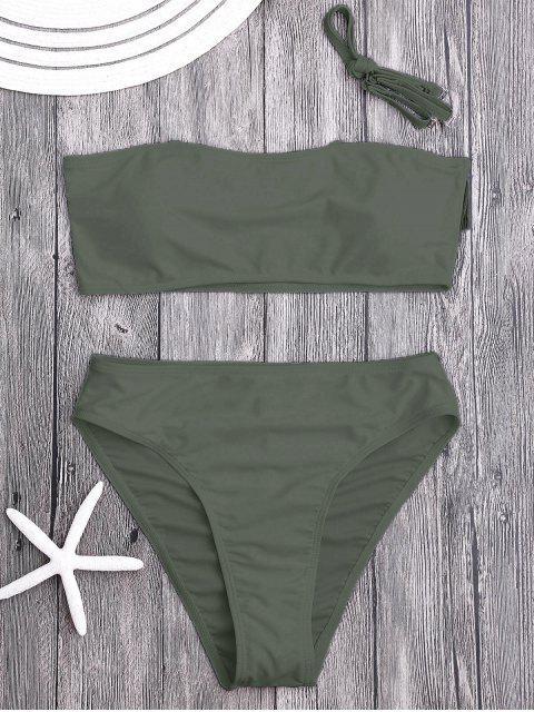 Ensemble Bikini Bandeau Paddé à Coupe Haute - Olive Verte S Mobile