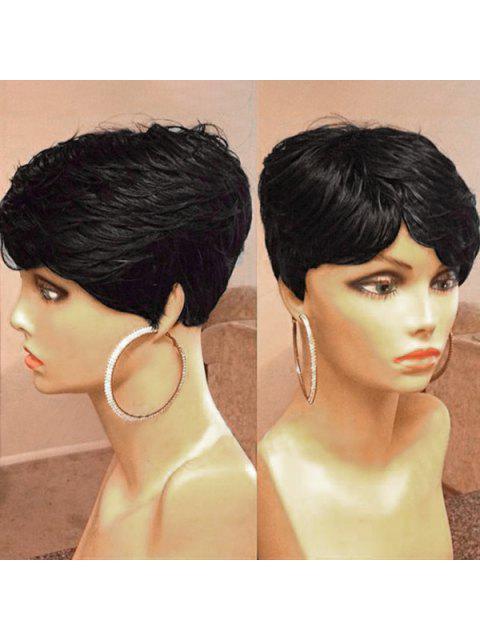 Lado corto lateral de la peluca de pelo humano ligeramente ondulado texturizado - NEGRO AZABACHE #01  Mobile