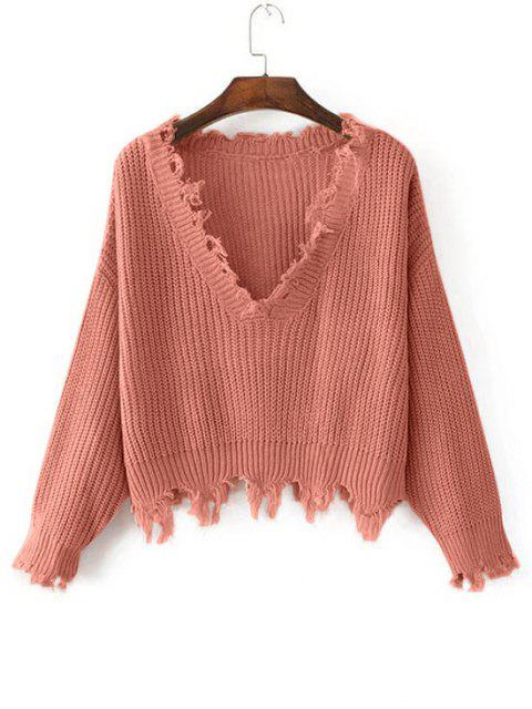 Pull Lâche Effiloché à Col en V - Orange Rose Taille Unique Mobile