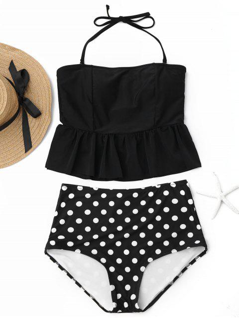 chic Polka Dot Peplum High Waisted Tankini Set - BLACK M Mobile