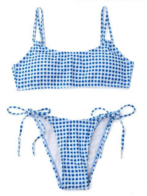 Bikini de cadena de doble correa de cuadros - Azul y Blanco M Mobile