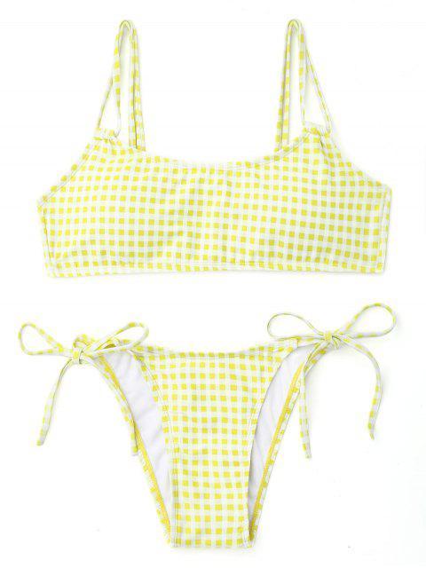Bikini de cadena de doble correa de cuadros - Blanco+Amarillo L Mobile