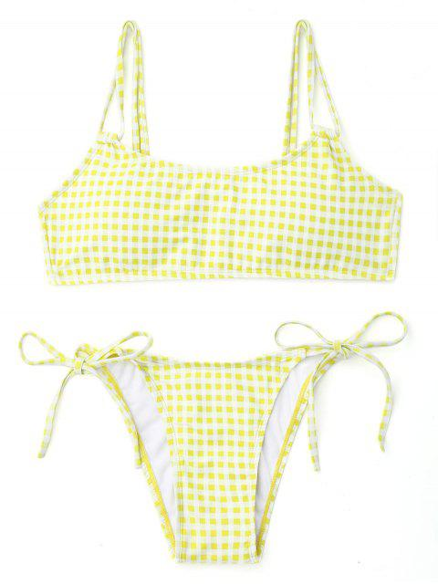 shop Plaid Double Straps String Bikini - WHITE AND YELLOW M Mobile