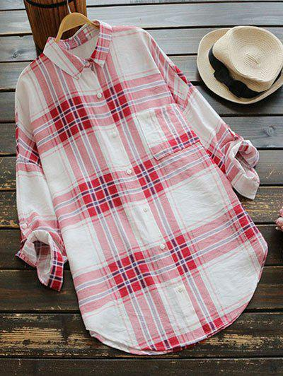 Checked Pocket Shirt Dress - Red