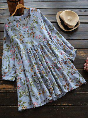 V Neck Flower Print Mini Dress - Blue Violet