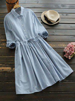 Drawstring Waist Striped Shirt Dress - Light Blue S