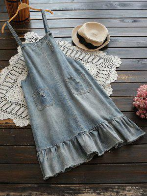 Ripped Frayed Hem Denim Pinafore Dress - Light Blue
