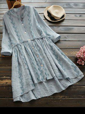 Feather Print Button Up High Low Dress - Light Gray