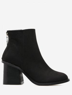 Faux Suede Block Heel Ankle Boots