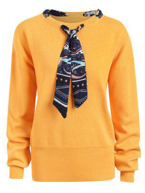 Plus Size Ribbon Embellish Sweater - Ginger 4xl