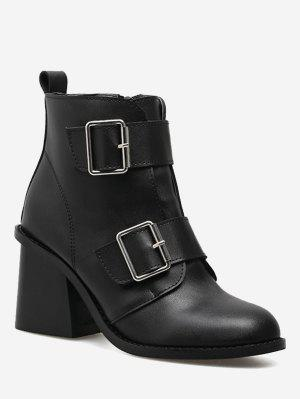 Chunky Heel Double Buckle Straps Ankle Boots