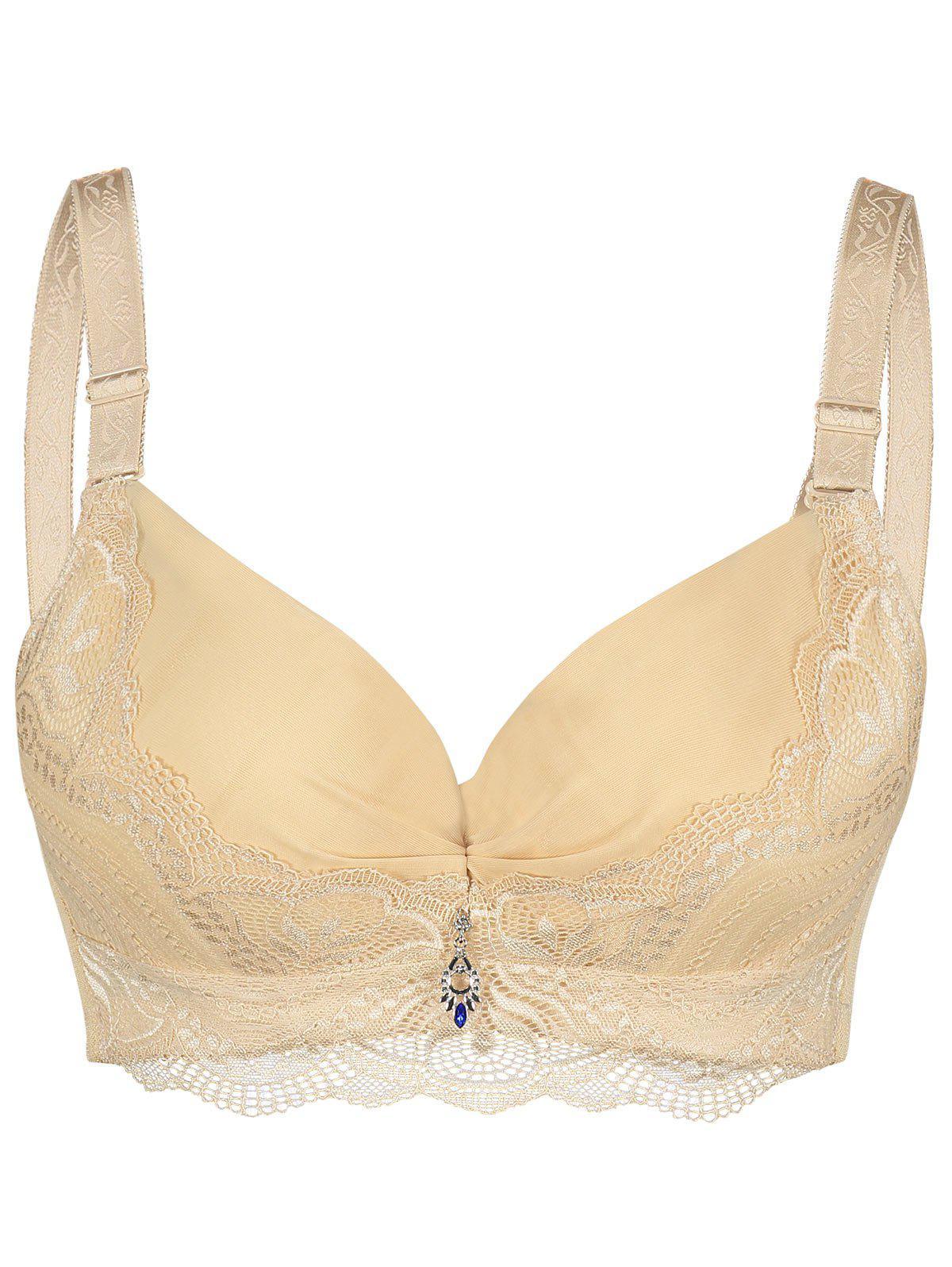 Padded Underwire Lace Trim Plus Size Bra 224670814