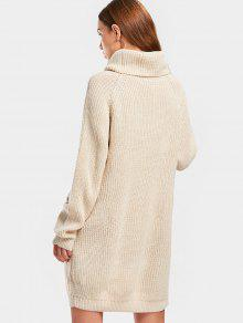 Long Turtleneck Raglan Sleeve Sweater BEIGE: Sweaters ONE SIZE | ZAFUL