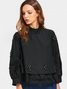الديكور الطبقات الأزهار زين بلوزة - أسود
