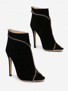 حذاء ذو كعب رفيع مفتوح من الأمام مزين بسحاب - أسود 37