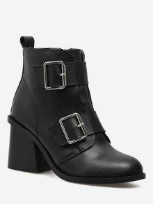 مكتنزة كعب مزدوجة مشبك الأشرطة أحذية الكاحل - أسود 37