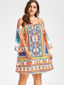 فستان باردة الكتف طباعة قبلية الحجم الكبير مصغر - 5xl