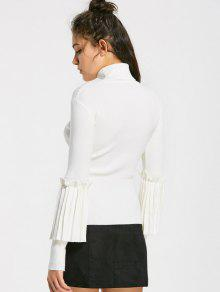 34219b82174f86 32% OFF] 2019 Ruffled Layering Turtleneck Knitwear In WHITE | ZAFUL