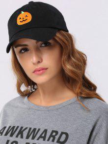 هالوين اليقطين التطريز قبعة بيسبول - أسود