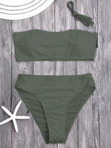 Ensemble De Bikini Bicolore Haute Taille Rembourré - Vert Olive   S