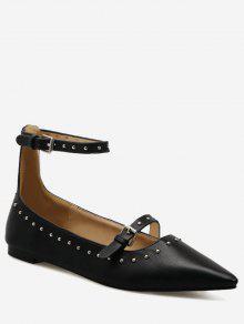Buy Buckle Strap Stud Ankle Flats - BLACK 37