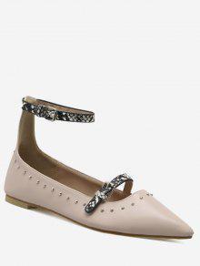 Buy Buckle Strap Stud Ankle Flats - PAPAYA 39