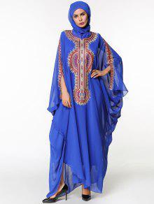 Chiffon Maxi Batwing Ärmel Flowy Arabic Dress - Blau