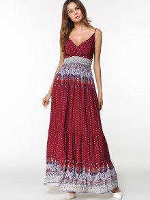 فستان طباعة قبلية حزام السباغيتي ماكسي - نبيذ أحمر 2xl