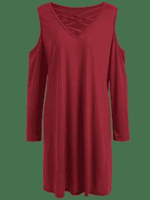 kaltes schulter strappy plus size tee kleid rot kleider. Black Bedroom Furniture Sets. Home Design Ideas