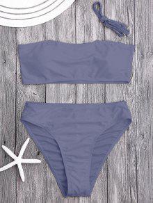Ensemble De Bikini Bicolore Haute Taille Rembourré - Gris Violet M