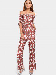 Off El Hombro Floral Imprimir Jumpsuit - Rojo Ladrillo S