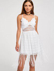 فستان مثير دانتيل هامشي - أبيض S