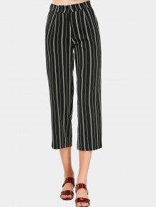 Pantalons Capri à Rayures Hautes - Noir L