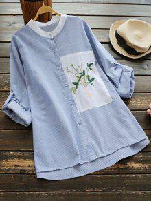 Blusa Listrada De Listrada Floral Com Lâmina Floral - Listra Azul