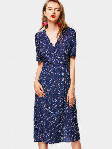 Vestido De Abrigo De Lunares - Azul Purpúreo S