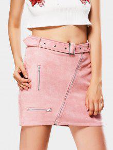 00bdf1c98f 26% OFF] 2019 Zipper Faux Suede Skirt Com Rosa | ZAFUL Brasil
