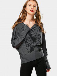Camiseta De Impresión De Mariposa Manga Dolman - Gris Xl