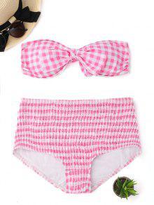 Dessous En Bikini à Bande Dessinée à Manches Courtes Et à Bretelles Taille Haute - Rose Et Blanc S