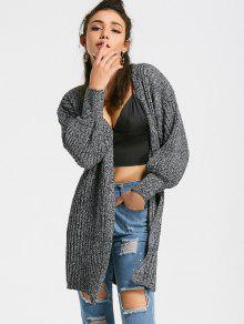 Heathered Lantern Sleeve Open Front Cardigan - Gris Oscuro