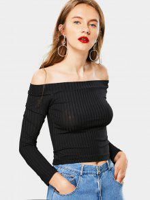 Camiseta Con Cuello De Hombros Acanalado - Negro S