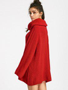 Cowl Neck Oversized Chunky Sweater RED: Sweaters XL | ZAFUL