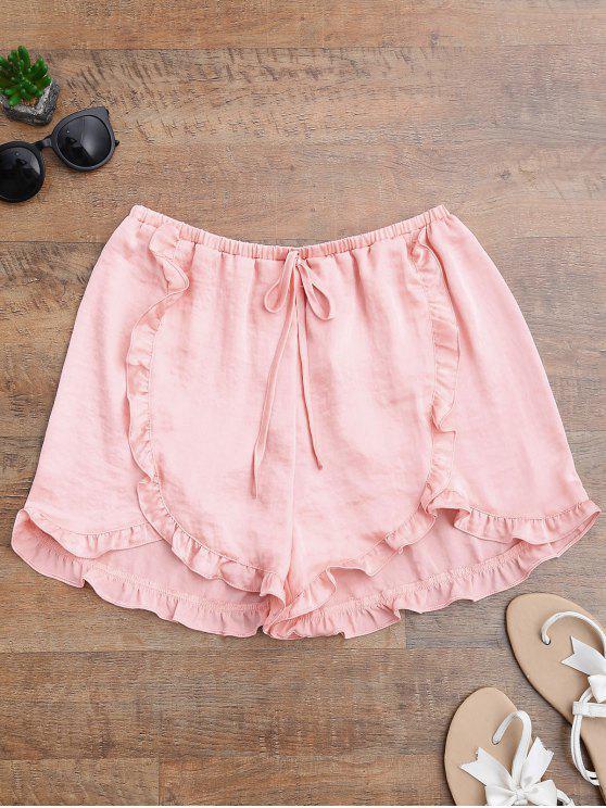 shop Satin Drawstring Tulip Cover Up Shorts - PINKBEIGE L