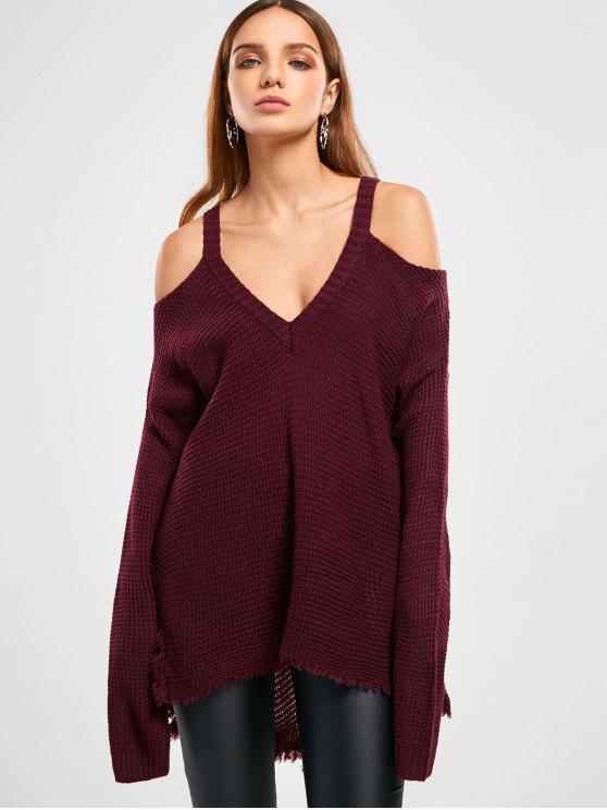 Suéter con flecos de alto bajo y hombros fríos - Vino Rojo Única Talla