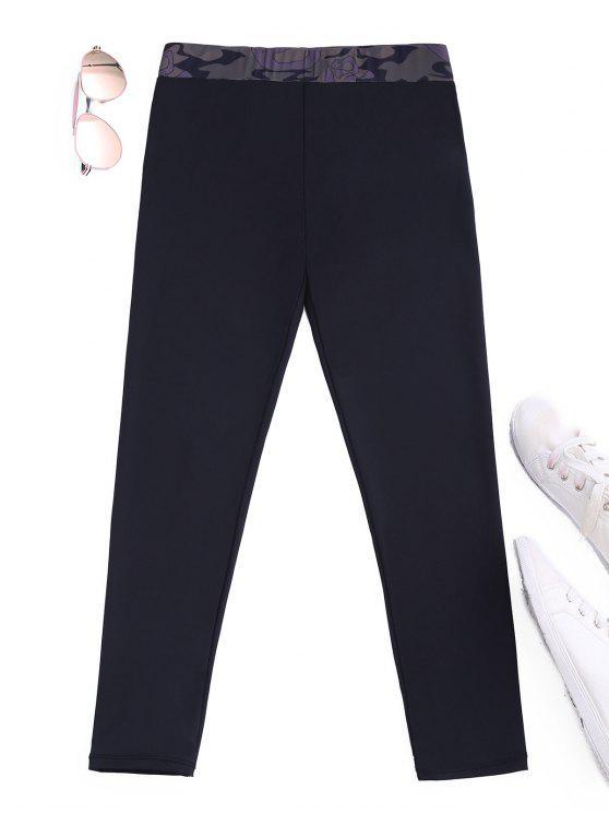 fashion Camo Panel Cropped Leggings - BLACK XL